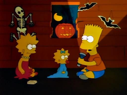 """Bart und Lisa erzählen sich gegenseitig im Baumhaus Gruselgeschichten. Fortan war der Begriff """"Treehouse of Horror"""" geboren."""