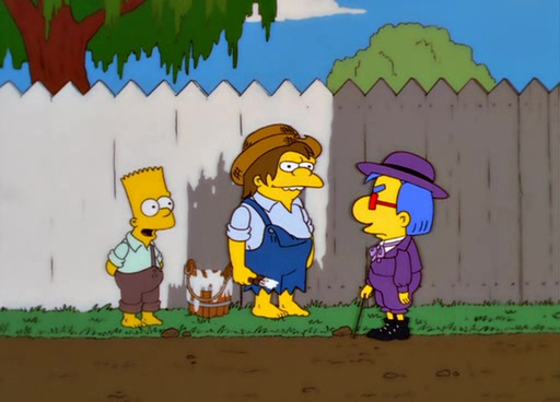Milhouse, Bart und Nelson in einer Tom Sawyer Parodie