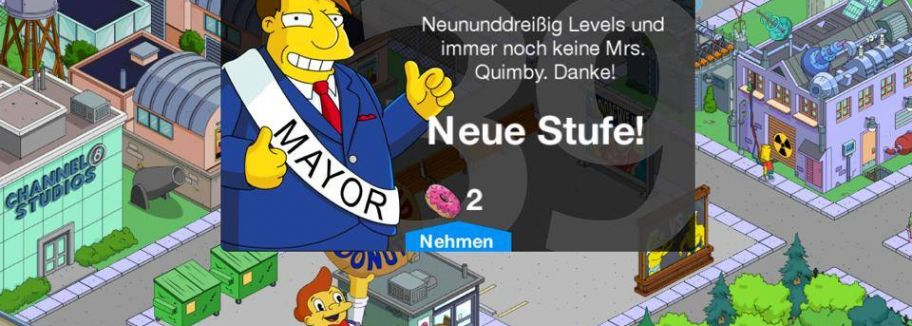 Level 39 - Update für Die Simpsons: Springfield / Tapped